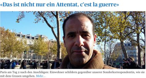 Front tagesanzeiger.ch: Man spricht von Krieg