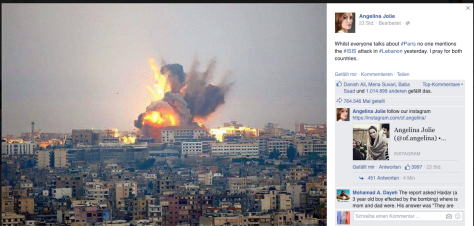 Auch die Hollywood-Prominenz nimmt war, dass niemand vom Libanon spricht.